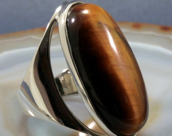 Tiger eye and 925 Sterling Silver Ring  --  4116