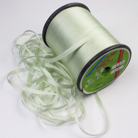 Yli 4mm pale mint green pure silk embroidery ribbon yli Very light mint green paint