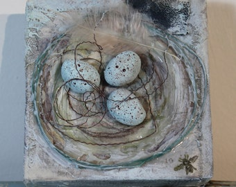 OOAK Mixed Media Canvas Birds Nest