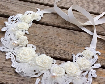 Statement bridal necklace with ivory fabric flowers and lace, floral wedding necklace, fabric statement necklace, alternative wedding