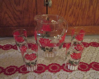 1950's Red rose Pitcher and glasses set