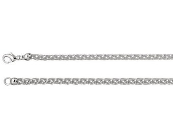 Solid Sterling Silver 925 Thick Woven Wheat Chain 4 mm Wide Necklace 16 inches, Chain Making, Jewelry Making Findings