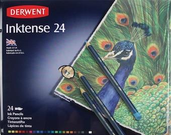24 Watercolor Pencils, Derwent Inktense Watercolor Water Soluble Pencils; 4mm Core Derwent Drawing   Watercolor Pencil, Tin