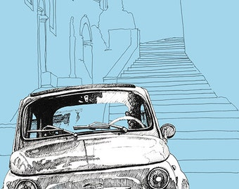 Hand Drawn 'Classic Fiat 500' Limited Edition Prints