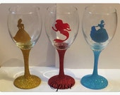 Disney Princess Silhouette Glitter Wine Glass *personalised with name*