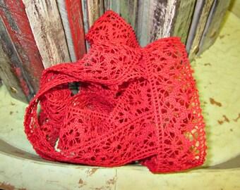 May Arts Red Lace Ribbon