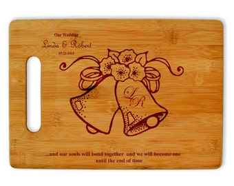 Personalized laser engraved bamboo cutting board wedding house warming gift kitchen