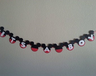 "Mickey Mouse ""Its a boy"" or ""Welcome baby"" Banner, Can Be Personalized with Name, Free Shipping USA"