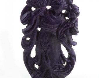Vintage rare Sugalite carved Quan Yin pendant. (pdgm125)