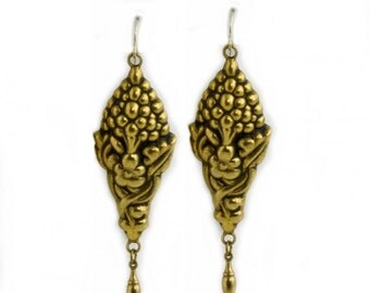 Vintage hollow work gilded silver earrings from Portugal. (ervn891)