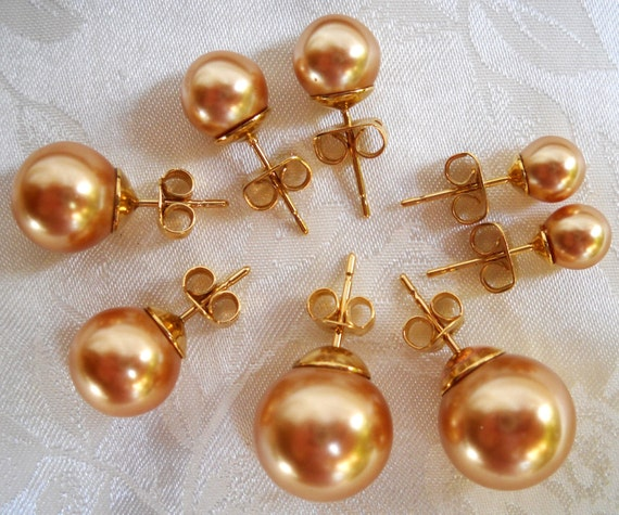 Mallorca Pearl Necklace: Stud Majorca/Mallorca Pearl Earrings In Gold Color Majorca