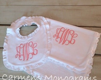 Girls Monogrammed Bib and Burp Cloth Set