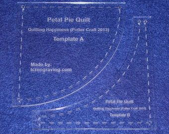 """2 Piece """"Petal Pie"""" Template Set - 1/8"""" Clear Acrylic - Quilting"""