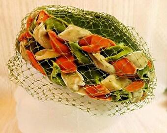 50s Green Velvet Birdcage Veil Hat Size 7