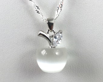 Sterling Silver While Glass Apple Pendant Necklace