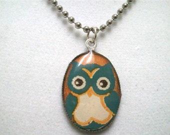 Owl Necklace, Owl Pendant, Resin Necklace, Ball Chain, Orange Blue Jewelry, Resin Jewelry, Owl Jewelry, Animal Jewelry, Halloween Jewelry