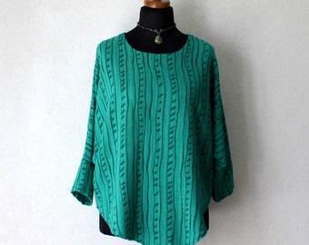 Women's Striped Turquoise Green Asymmetric Blouse Oversized Linen Shirt One Size