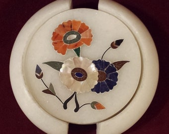 Marble Inlay Floral Coaster Set