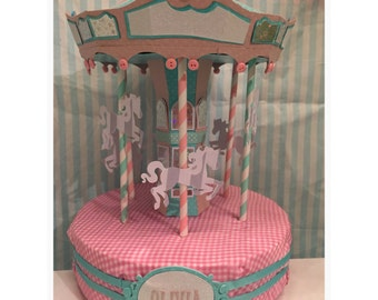 Personalized Carousel cake topper and keepsake