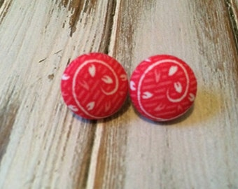 Button Earrings - Pink Fabric Button Post Earrings
