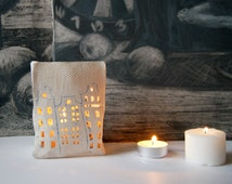 Paper Bag-Candle Lantern-Ceramic House-Candle Stand-Ceramics And Pottery-Candle And Tea Light Holder
