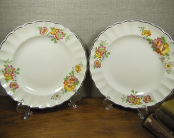 Ivory Porcelain by Sebring - Petunia Pattern - Set of Two (2) Small Scalloped Edge Plates