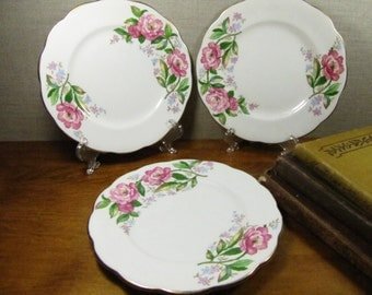 Three (3) Small Vintage Plates - Roslyn Fine Bone China - Made in England