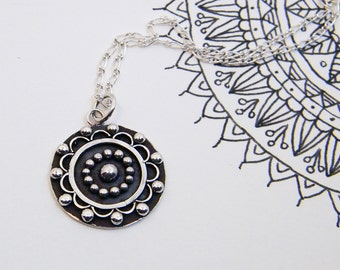 Mandala Oxidized Silver Pendant. Inspiraction: Sun and Planets
