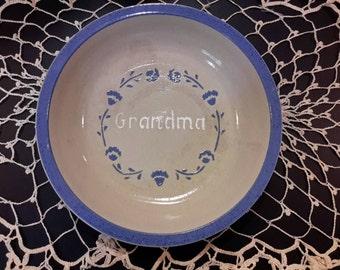 Vintage 1989 handmade Pie Dish says GRANDMA.