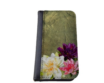 Lotus flower iPhone wallet case floral phone case beautiful Samsung Galaxy S6 Edge case iPhone SE iPhone 5 5C 6 plus vintage look iPhone 8