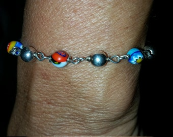 Millefori Italian Beads And Sterling Silver Beads