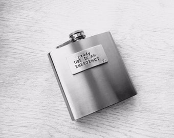 Personalised Daddy, use in an emergency hipflask