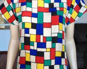 Vintage 80s Silk Shift Dress Multi Coloured