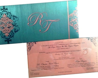 100 personalised designer wedding invitations with envelope