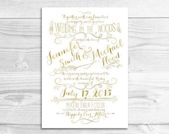 Elegant Gold Wedding Invitation // DIY Printable Invitation // Elegant Wedding