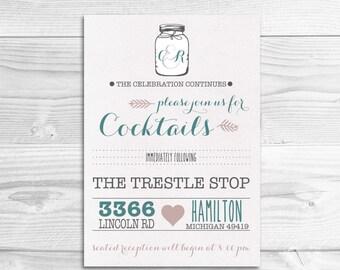 Rustic Whimsical Wedding Reception Card // DIY Printable Invitation // Rustic Wedding, Whimsical Wedding