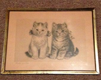 "Vintage Rare Meta Pluckebaum Signed "" Brother and Sister "" Framed Print"