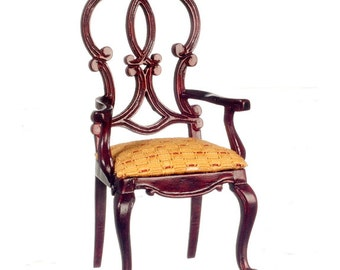 1:12 Scale Miniature Mahogany Queen Anne Side Chair
