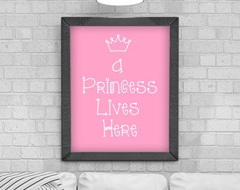 Digital Download 'A Princess Lives Here' Typography Poster, Printable Art, Instant Download, Wall Prints, Digital Art, Childrens Bedroom