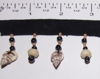 Handmade Beaded Fringes - Natural shells, Bone, wood and glass Beads - 2 yards
