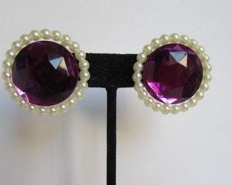 Vintage earrings- Purple studs- 90s Jewelry