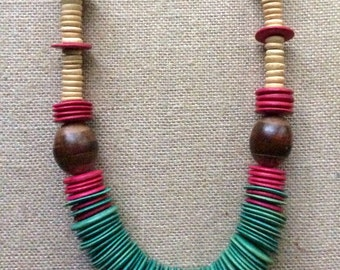 Bohemian Retro Wooden Graduated Disc and Beaded Necklace