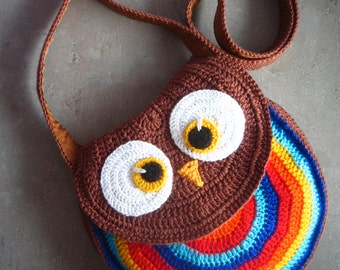 Crochet owl bag, owl bag, owl purse, owl tote,  baby bag, multicolored owl purse