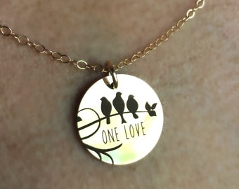 One Love Necklace In Yellow Gold Rose Gold Sterling Silver, Three Little Birds Pendant Girlfriend Mom Bob Marley Necklace