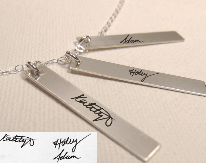 "Handwritten Sterling Silver Triple Vertical Bar Necklace (1.25"" x .2"")Personalized and Custom, Girlfriend,Christmas gift"