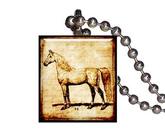 Vintage Horse Stallion - Reclaimed Scrabble Tile Pendant Necklace
