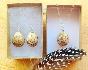Bird egg necklace and earrings,bird egg jewelry,Bird necklace,Easter jewelry,Bird egg earring,Bird lover gift,Speckled egg earring,Bird art