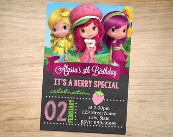 Strawberry Shortcake Birthday Invitation Chalkboard - Strawberry Shortcake Invitation - Strawberry Shortcake Invite - DIGITAL