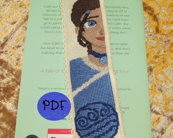 Katara Profile Cross Stitch Pattern (Avatar Last Airbender) - Bookmark (PDF/Digital File)