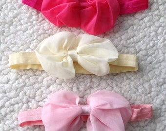 Set of 3 Baby Headband, Beige, Light pink, Rose red Headband, Baby Gift,